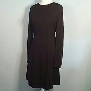 Michael Kors black midi sweater dress zipper